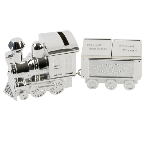 Bambino - S/Plate Train Money Box & First Tooth/Curl Carriage