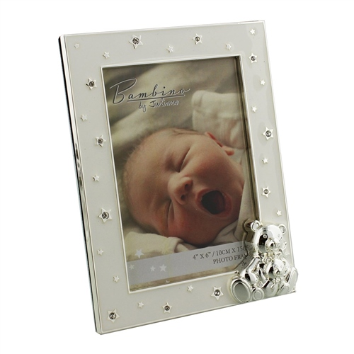 "Bambino - Silver Plated Frame Teddy & Baby 4"" x 6"""