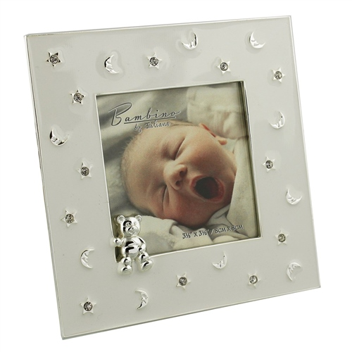 Bambino Silver Plated Frame Stars & Moon Teddy 3x3  - Click to view larger image