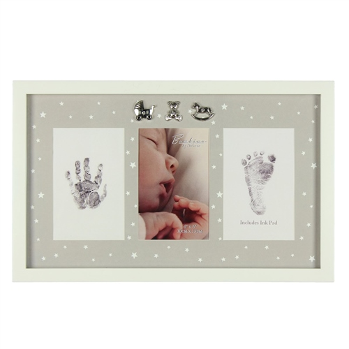 Bambino MDF Photo Frame Hand/Foot Print & Ink Pad  - Click to view larger image