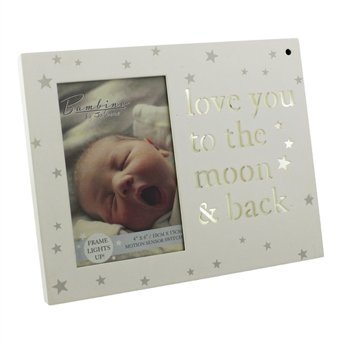 Image of Bambino 'Light Up' MDF Photo Frame 'Love You to the Moon'