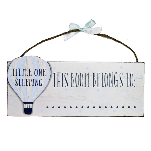 Bambino - 'Petit Cheri' MDF Plaque - 'This Room Belongs To...' Blue