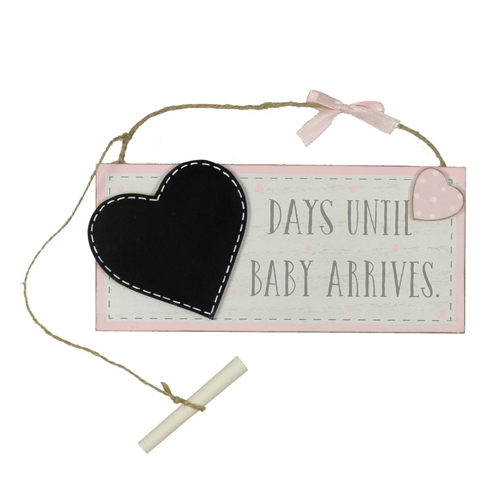 Bambino 'Petit Cheri' MDF Chalkboard 'Waiting For Baby' - Pink  - Click to view larger image