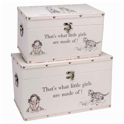 """Bambino Luggage series - Set of 2 Storage Boxes - """"Little Girls""""  - Click to view larger image"""