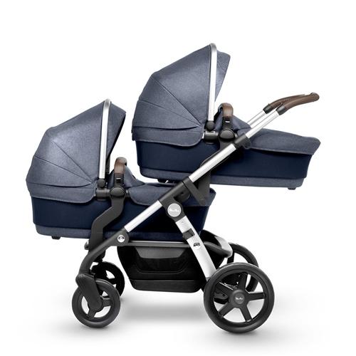 22371aab053 Silver Cross Wave Twin Pram + 2 Simplicity Car Seats Midnight Blue