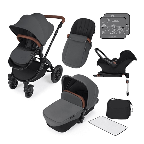 Ickle Bubba Stomp V3 All-In-One Travel System + Isofix Base - Black Chassis / Graphite