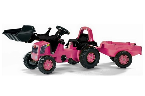Rolly Toys - Kids Pink Front loader Tractor and Trailer