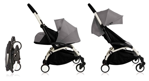 Babyzen YOYO+ complete stroller Grey - White frame - Click to view larger image