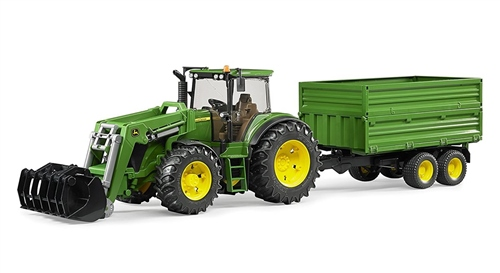 Bruder John Deere 7930 with frontloader and trailer  - Click to view larger image