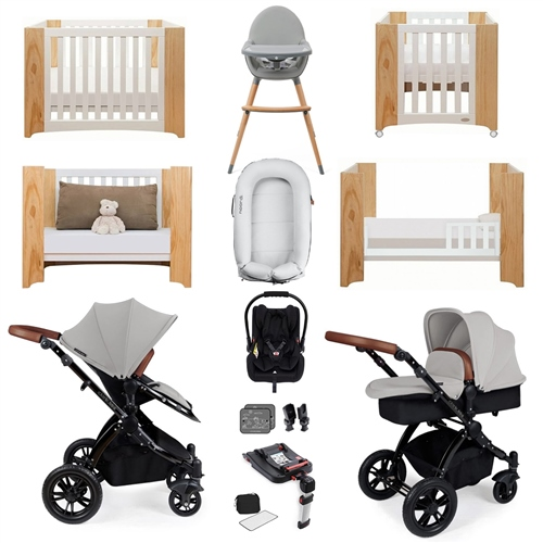 Ickle Bubba Stomp V3 Luxury Travel & Nursery Bundle - Silver Chassis / Silver