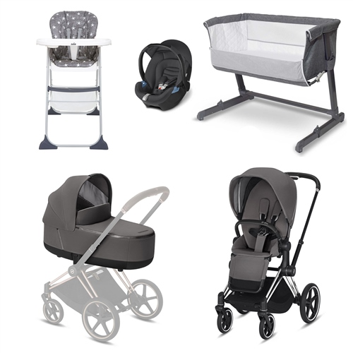 Cybex Priam Chrome Frame Essential Travel System & Nursery Bundle  - Click to view larger image