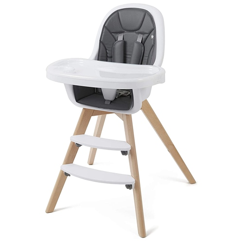 BabyLo Icon 2 in 1 Highchair - White & Wood