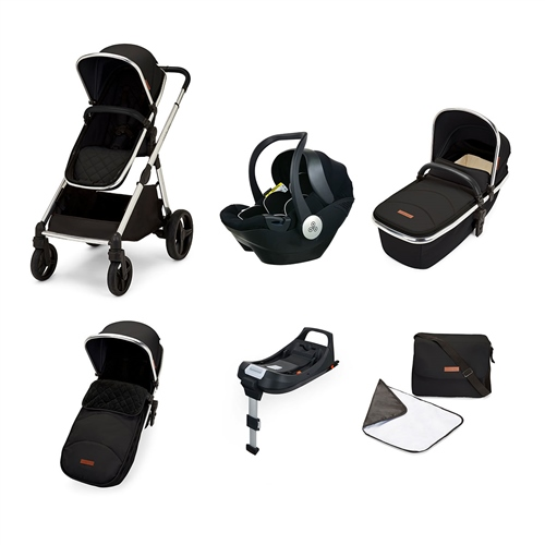 Ickle Bubba Eclipse Travel System with Mercury iSize car seat and ISOFIX - Jet Black (Black Handle)