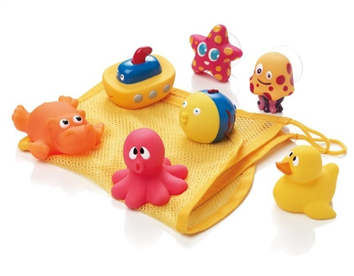Jane Set of 7 bath toys & storage net